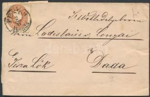 1861 10kr levélen PESTH Abends - TISZALÖK - Dada