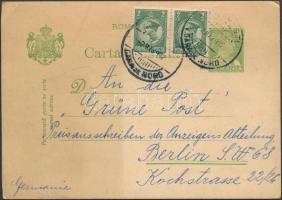 "PS-card with additional franking to ""CERNAUTI"" - Berlin, Díjkiegészített díjjegyes levelezőlap ,,BUCURESTI"" - Berlin"