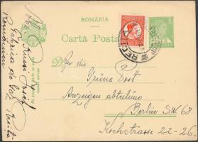 """Díjkiegészített díjjegyes levelezőlap ,,RECITA"""" - Berlin, PS-card with additional franking to ,,RECITA"""" - Berlin"""
