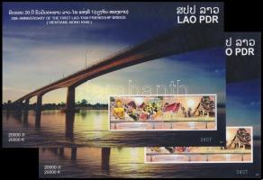 20th anniversary of Mekong Friendship Bridge perforated and imperforated block, 20 éves a Mekongi Barátság hídja fogazott és vágott blokk
