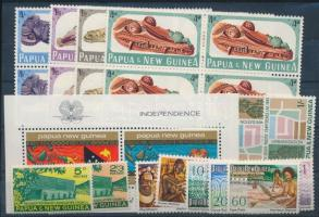 Pápua-Új Guinea 4 klf sor + 1 sor négyestömbökben + 1 blokk (Mi EUR ~35,-)