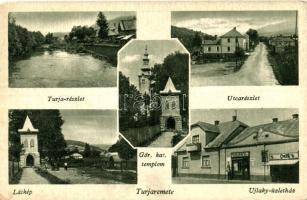 Turjaremete, Turji Remeti, Ujlaky üzletház, görög katolikus templom / shop, church (worn edges)