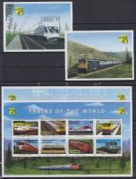 Stamp Exhibition; locomotives mini sheet set + block set, Bélyegkiállítás; mozdonyok kisívsor + blokksor