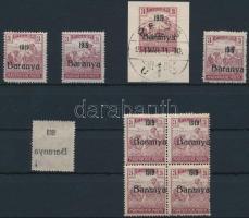Baranya I. 1919 9 db Arató 3f fekete felülnyomással, közte antikva, gépszínátnyomat, összefüggés, minden érték Bodor vizsgálójellel (5.000+)