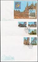 Belgium International Stamp Exhibition set + block 3 FDC, Belgiumi Nemzetközi bélyegkiállítás sor + blokk 3 db FDC-n