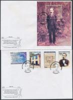 José Martí set + block 2 FDC, José Martí születésének 150. évfordulója sor + blokk 2 db FDC-n