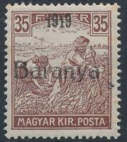 Baranya I. 1919 Arató 35f antikva számokkal, Bodor vizsgálójellel (44.000) (rozsda / stain)