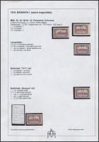 Baranya I. 1919 5 db Parlament 10K, közte antikva, lemezhibák, minden érték Bodor vizsgálójellel (20.620)