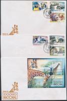 2007 Állatkerti állatok sor Mi 4906-4911 + blokk Mi 223 3 db FDC-n