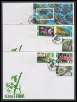 Flora and fauna set + block on 3 FDC, Növény- és állatvilág sor + blokk 3 db FDC-n