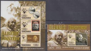 Death anniversary of Einstein minisheet + block, Einstein halálának 50. évfordulója kisív + blokk