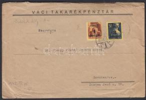 1945 (2. díjszabás) 2. súlyfokozatú céges távolsági levél Kisegítő 1P/20f + 3P/50f bérmentesítéssel