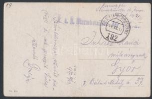 1917 Tábori posta képeslap K.u.k. Sturmbataillon + EP 192