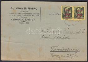 1945 (2.díjszabás) Nyomtatvány Kisegítő 2x20f/1f bérmentesítéssel (hajtott, foltos)