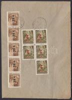 1946 (7.díjszabás) Ajánlott távolsági levél Betűs Tl.I ötöscsíkkal + Ajl.I. ötöstömbbel bérmentesítve