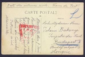 1917 Magyar Civil internált képeslapja Marseilléből Budapestre / Postcard of Hungarian civil internee from Marseille to Budapest