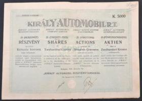 Budapest 1923. Király Automobil Részvénytársaság 25 részvénye egyben, egyenként 200K-ról teljes szelvényívvel T:III apró szakadás