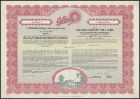 Budapest 1994. Goldsun Hűtőipari Részvénytársaság átváltoztatható kötvénye 100Ft-ról (2x) T:I