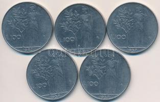 Olaszország 1957-1963R 100L acél (5x) T:2 Italy 1957-1963R 100 Lire stainless stell (5x) C:XF Krause KM#96.1
