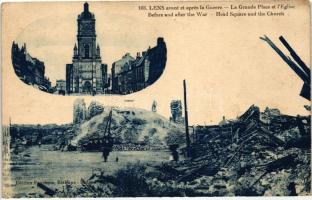 Lens, avant et apres la Guerre / Before and after the war, Main Square and the church (EK)