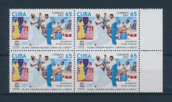 60th anniversary of UNESCO Commission margin block of 4, 60 éves kubai UNESCO Bizottság ívszéli négyes tömb