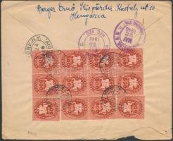 1946 (13.díjszabás) Ajánlott levél Washingtonba Lovasfutár 12x500eP bérmentesítéssel