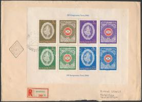 1960 FIP blokk ajánlott FDC (boríték hátuljából hiányzik egy kis darab)