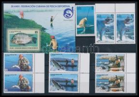 30th anniversary of Cuban Sport Fishing Association 5 values + block, 30 éves a kubai Sport Horgász Egyesület 5 érték közte ívszéli párok + blokk