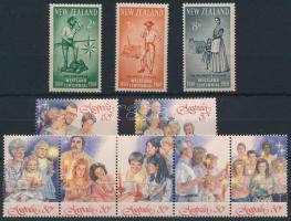 Új-Zéland 1960 Mi 389-391 + Ausztrália 1987 Karácsony sor ötöscsíkban + 2 érték Mi 1067-1073