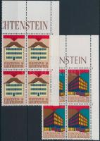 Europa CEPT, Post Office Buildings set blocks of 4 with coupon, Europa CEPT, Postaépületek sor szelvényes 4-es tömbökben
