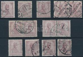 1913 13 db Turul 5K, közte 3 pár