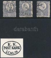 1871 3 db Réznyomat 25kr / 3 x Mi 13 ovális/oval K.K. POST KASSE SEMLIN