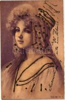 Lady, Serie 651. No. 6. litho, decorated, Hölgy, litho, díszített, Serie 651. No. 6.