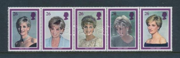 1998 Diana hercegnő ötöscsík Mi 1729-1733 díszcsomagolásban