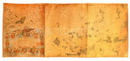 1777 Ferraris, Joseph de (1726-1814): Carte chorographique des Pays-Bas autrichiens, Osztrák Németalföld térképe, 12. sz. tábla, kézzel festett, vászonra kasírozva, sérült, 60×136 cm /  1777 Ferraris, Joseph de (1726-1814): Carte chorographique des Pays-Bas autrichiens, chorographic map of the Austrian Netherlands, table No. 12., handpainted, on canvas, damaged, 60×136 cm