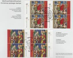2011 Karácsony sor négyestömbökben Mi 2895-2896 posta alkalmi kiadványában kétféle elsőnapi bélyegzéssel
