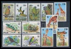 WWF motívum 1979-1989 3 klf sor (Fidzsi, Kenya, St. Lucia) (Mi EUR 84,-)