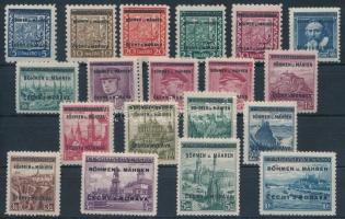 Böhmen und Mähren 1939 Forgalmi sor Mi 1-19 vizsgálójellel
