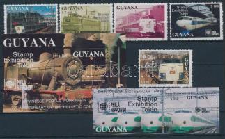 Vonat; bélyegkiállítás sor + blokksor, Train; Stamp Exhibition set + block set