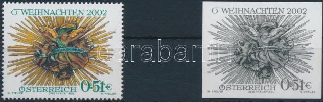Christmas stamp + black-print, Karácsony bélyeg + fekete nyomat