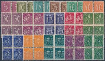 1921 Forgalmi sor 16 klf értéke négyestömbökben Mi 177-191 + 193