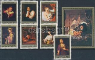 1981 Rembrandt festmények sor Mi 1398-1404 + blokk 74