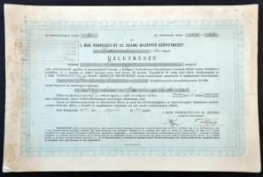 Budapest 1940. I. Kerület Verpeléti-út 22. számú Házépítő Szövetkezet 220db üzletrésze egyben, összesen 11.000P-ről, bélyegzéssel T:I-,II fo.