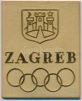 Horvátország DN Zágráb egyoldalas aranyozott fém olimpiai témájú plakett a város címerével, IKOM Zagreb gyártói jelzéssel T:2 Croatia ND Zagreb one sided, gold plated Olympic-themed plaque with the towns coat of arms, with IKOM Zagreb makers mark C:XF