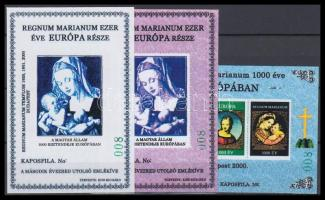 2000/72, 74 Regnum Marianum 3 klf emlékív színpróba nyomat, 40 pld., zöld sorszám: 008