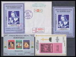 2000/72b-74b Regnum Marianum 3 klf emlékív fekete sorszámmal: 061 (80 pld.) + 74b II. ezredforduló utolsó emlékíve alkalmi levélen 00000 sorszámmal