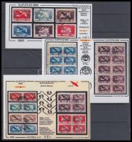 2000/64-68 75 éves az Ikarusz bélyegsorozat teljes hamisítványa 5 klf emlékív azonos sorszámmal: 045 (fekete, zöld, piros)