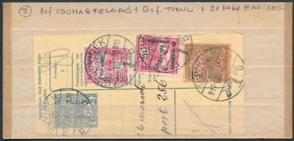 1917 Csomagfeladó szelvény Turul 60f + Hadisegély (II) 2x10f