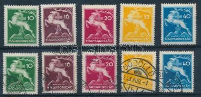 1933 Cserkész 1 pecsételt sor + 1 vegyes (10f és 32f falcos)