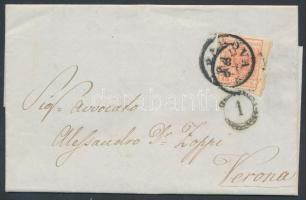 1852 15c levélen PADOVA - VERONA